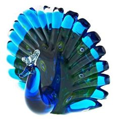 """Small Peacock Size: 5.5"""" High Color: Blue, Turquoise and Green"""