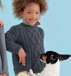 Modèle pull fantaisie à torsades - Modèles tricot enfant - Phildar