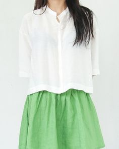 Button Down Cropped Blouse