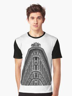 Flatiron Building Graphic T-Shirt Tee Shirt, V Neck T Shirt, Lac Saint Jean, Flatiron Building, Flat Iron, Men's Apparel, Manhattan, Monochrome, Skyscraper