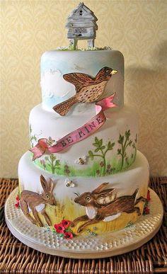 Bee mine - A hand painted wedding cake