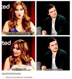Tumblr- Josh Hutcherson, Jennifer Lawrence, and Katniss (hunger games) interview