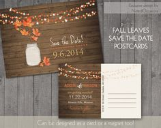 Rustic Fall Save the Date Postcards    Fall by NotedOccasions, $35.00 they do magnets too - really cute