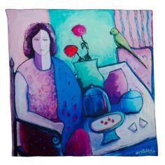 Purple & Teal Annada Scarf by Artist Mariam Fakhro