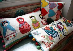 Adorable cross-stitch cushions (pattern can be purchased at link) | Jacquip