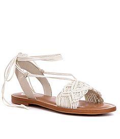 GB QuickWit Macrame Ankle Wrap Flat Sandal #Dillards