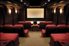 Movie theater style home theater. Now this is a theater room! Home Theater Lighting, Home Theater Decor, Best Home Theater, Home Theater Design, Home Theater Seating, Dream Theater, Movie Theater Rooms, Cinema Room, Theatre Rooms
