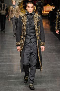 Dolce & Gabbana takes a more regal approach, incorporating Sherwani jackets and lavish gold embroidery for their collection for Fall/Winter 2012. A little bit Victorian and a little bit desi, the boys can look forward to a luxurious look for fall.