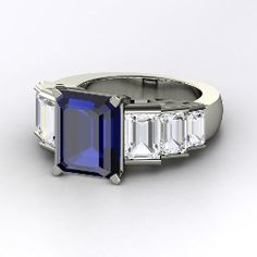Evelyn Ring, Emerald-Cut Sapphire Palladium Ring with White Sapphire from Gemvara