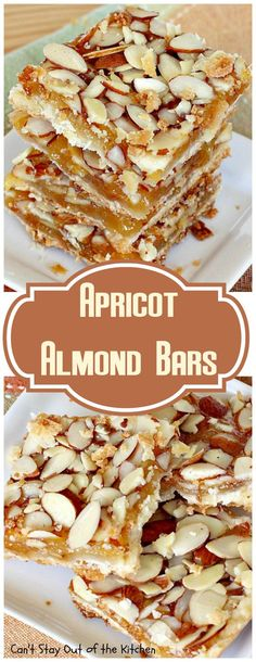 Apricot Almond Bars Rich, decadent and spectacular bar-type cookie with a crust layer, an apricot filling and topped with lots of sliced almonds. Great for holiday baking or as a dessert any time of the year. Apricot Recipes, Sweet Recipes, Apricot Ideas, Almond Recipes, Cream Cheese Cookies, Cookies Et Biscuits, Holiday Baking, Christmas Baking, Christmas Drinks
