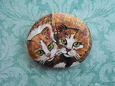 Cuddling-Tabby-Cats-Original-Hand-Painted-Garden-Rock-Collectible-Art-Miniature