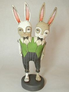 Banjo and Belfry conjoined rabbits (Folk Art Doll) by Cart Before the Horse on Etsy