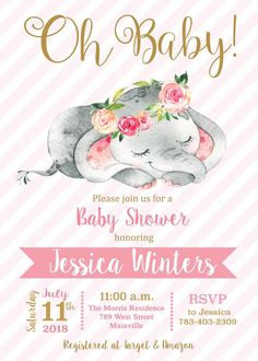 Elephant Elephant Baby Shower Girl Pink Oh Baby Safari Tarjetas Baby Shower Niña, Imprimibles Baby Shower, Baby Shower Invitaciones, Baby Girl Shower Themes, Baby Shower Invites For Girl, Baby Shower Decorations, Baby Girl Elephant, Elephant Elephant, Invitacion Baby Shower Originales