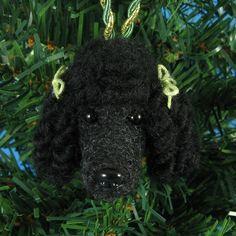.Black Poodle Dog - Needle Felted Christmas Ornament 55.00
