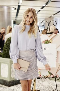 Lovely in lilac: Elyse Knowles attended The Daily Edited Mother's Day pop up launch night in Sydney on Thursday and flaunted her svelte figure in a very demure ensemble