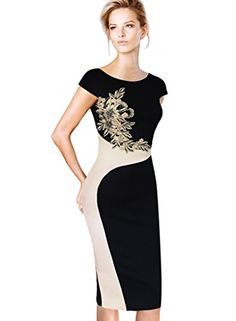 7418fd8e8a0b Vfemage Womens Elegant Embroidered Slimming Evening Cocktail Dress 3973 BLK  16 -- Learn more by visiting the image link. Ideal Fashion