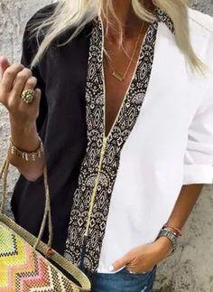 Womens Fashion Online, Latest Fashion For Women, Latest Fashion Trends, Casual Shirts, Casual Outfits, Blouse Styles, White Long Sleeve, Short Sleeve Blouse, Shirt Blouses