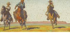 Maynard Dixon (1875-1946) Cowboys on the plains, 1921 9 x 19in