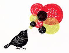 Little Bird Big Song - Cut Paper Art by ruralpearl, via Flickr