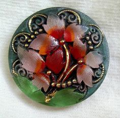 Czech Reverse Painted Glass Button