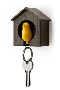 Porte clés oiseau marron/ jaune