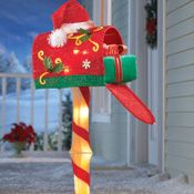 """Candy Cane Outdoor Decorations 45"""" Animated Prelit Snoopy On Mailbox  Christmas Home Decorating"""
