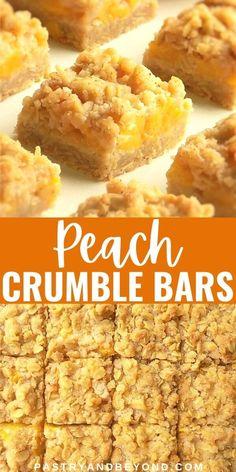Mini Desserts, Easy Desserts, Delicious Desserts, Dessert Recipes, Yummy Food, Bar Recipes, Desserts With Peaches, Healthy Food, Snacks