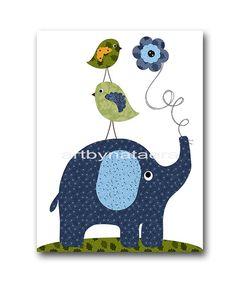 Elephant Nursery Bird Nursery Kids Wall Art Baby by artbynataera, $14.00