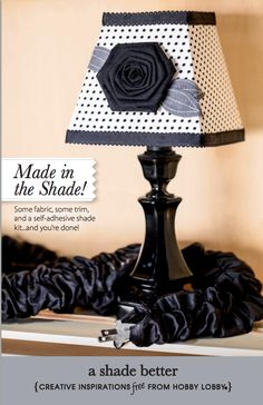 Some fabric, some trim, a self-adhesive shade kit...and you're all done with this DIY lamp shade project.