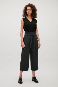 COS image 6 of Wide waist pleated trousers in Black