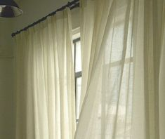 Linen Sheer curtains, White linen sheer drapes, shabby chic curtains, farmhouse sheer drapes decor custom made to fit.   #linencurtains #linendrapes