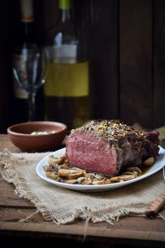 Rosemary and Garlic Crusted Roast Beef with Sauteed Mushrooms