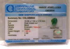 New Pure Emerald Stone Oval Natural Certified Excellent Cut 1.89 Ct Green Color