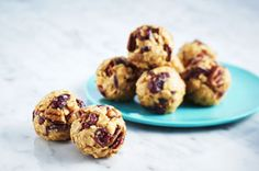 Chopped dried cranberries and pecans add both flavour and crunch to these Fruit & Nut Peanut Butter Snack Bites. Enjoy these easy-to-make tasty peanut butter treats anytime of day.