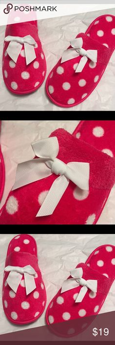 30% off Bundles🎁NWTS Hot PinkPolka Dot Slippers Cute as a button hot pink Polka dot slippers. We all love ❤️💞💕♥️ slippers and comfy socks. These are comfy slippers. Cute white bow on the front. Slip resistant bottoms. Size large is a 10 10.5 11. Great gift for mom, wife  or grandmother. The list is endless. Her Shoes Slippers
