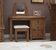 Rustic Oak Dressing Table And Stool   Furniture UK