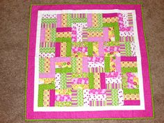 Baby Quilt Green Pink and Yellow Fence Rail by WrappedInAHug, $65.00
