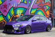 Mitsubishi Evo X. Slammed and purple