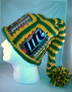 Green Bay Packer Crocheted Beer Can Winter by AmysMonkeyBusiness, $25.00
