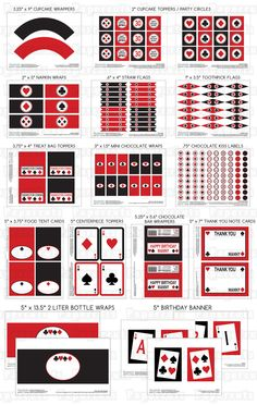 Printable DIY Red and Black Casino Night Poker Playing Card Theme LARGE Birthday Package. $30.00, via Etsy.