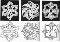 Gráficos motivos vestido com crochê
