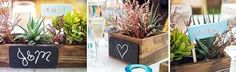 Love these succulent boxes with chalk board.