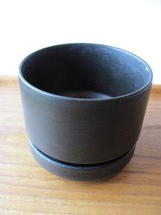 Arabia Vintage Black  Size S Ceramic Planter Mid Century Modern Richard Lindh b #Arabia