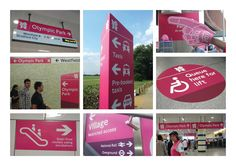 Temporary wayfinding signage for London 2012 Like the pink transport directional sign Environmental Graphic Design, Environmental Graphics, Wayfinding Signage, Signage Design, National Rail, Outdoor Signage, Directional Signs, Special Olympics