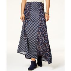 American Rag Juniors' Mixed-Print Maxi Skirt, ($50) ❤ liked on Polyvore featuring skirts, blue floral, long skirts, long floral skirts, blue skirt, floral print long skirt and print maxi skirt