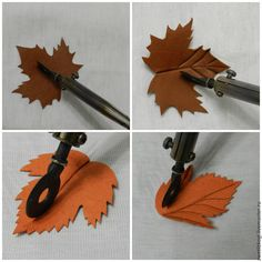 подарок ручной работы felt leaves with decoupage type glue backing made into a brooch – Artofit Leather Art, Leather Gifts, Leather Bags Handmade, Leather Tooling, Diy Leather Earrings, Leather Keychain, Leather Jewelry, Fabric Flowers, Paper Flowers
