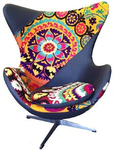 "egg chair in patchwork, egg chair suzani, when it says, ""call for price"" probably not good."