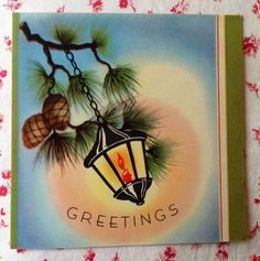 Vintage 1940s Christmas Greeting Card with Lantern Hanging on Pine Branch | eBay