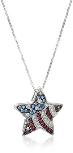 Platinum Plated Sterling Silver Swarovski Zirconia American Flag Star Pendant Necklace, 18' * Click image for more details. (This is an Amazon Affiliate link and I receive a commission for the sales)