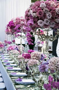 Incredible wedding bouquets and wedding centerpieces with purple wedding flowers! Spring Wedding Flowers, Purple Wedding, Dream Wedding, Spring Weddings, Wedding Colors, Wedding House, Floral Wedding, Summer Wedding, Long Table Wedding